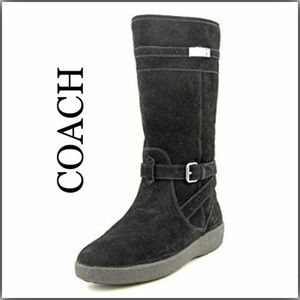 Coach Tallulah Black Suede Tall Boot Size 8.5